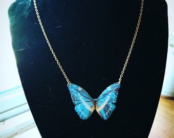 Retro, butterfly necklace,butterfly wing necklace,graduation gift, nature jewelry, resin jewelry, resin pendant, necklace, 90s , retro,