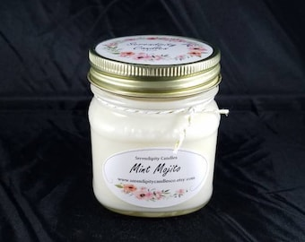 Mint Mojito Soy Candle Serendipity Candles Hand Poured 8 oz.