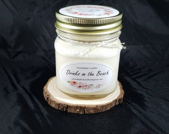 Drinks on the Beach Serendipity Candles Hand Poured 8 oz. Soy Candle