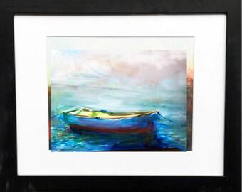 Rowboat in early morning light fine art print