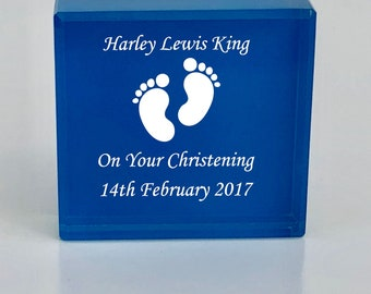 Personalised Engraved Blue Glass Block Christening Baptism Baby Boy Gift