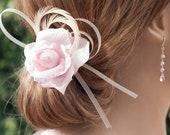 Bridal, hair pin wedding bridal Hairpin, flower pink silk, feathers and hair, romantic pin, barrette Bohemian