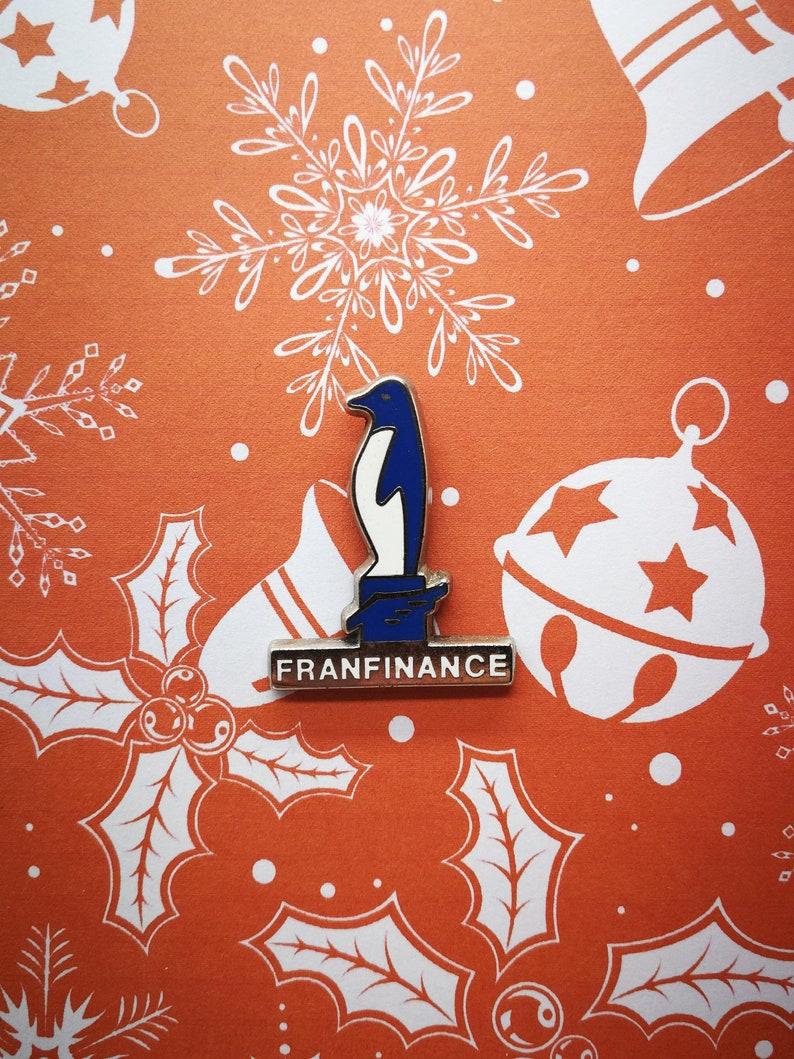 Vintage Enamel Pin Joyeux Noël Pingouin Franfinance