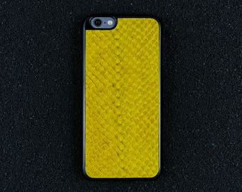 Yellow Salmon Leather iPhone Case - iPhone 8/7/6S/6 - Made in Germany by Icecase