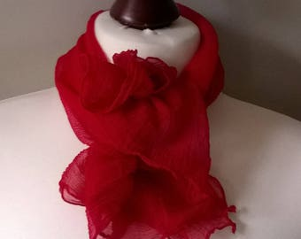 Lot of 2 vintage 1950s crepe scarves, cherry red and cream, women's neck-tie, headscarf