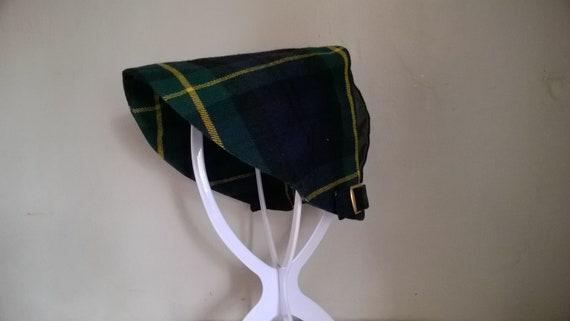 ee8567c0bee 1950s kiltish hat Gordon tartan wool cap with two buckles