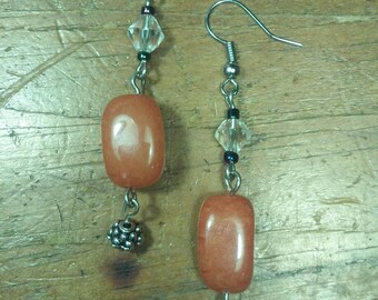Orange Stone Drop Earrings