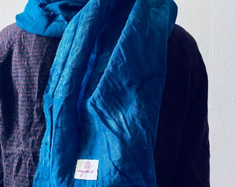 Wool cloth for women plant dyed with indigo