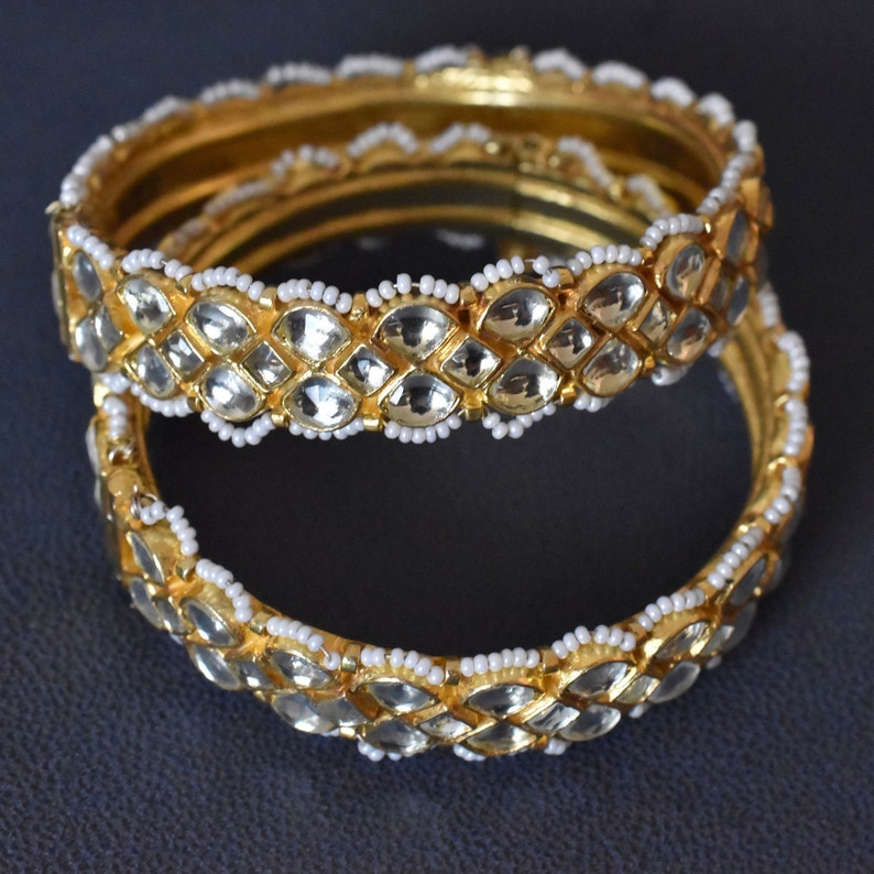 Indian Bangles polki style diamond lt golden kundan stone Indian Jewelry pair of bracelet Kundan bracelets Kundan Kada Kundan Bangles
