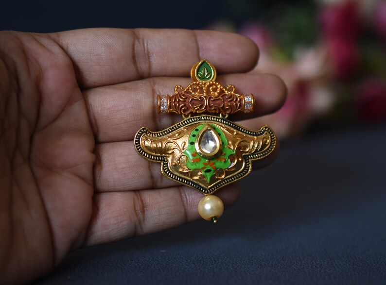 semi formal jewelry Matte gold pendant earrings indian ethnic jewellery indian necklace earring set temple jewelry