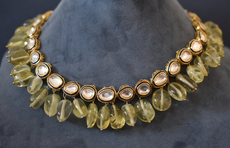 Kundan necklace earrings with real natural rock crystal or lemon quartz tumbles danglers with bluemaroon  meena linings 2 choices