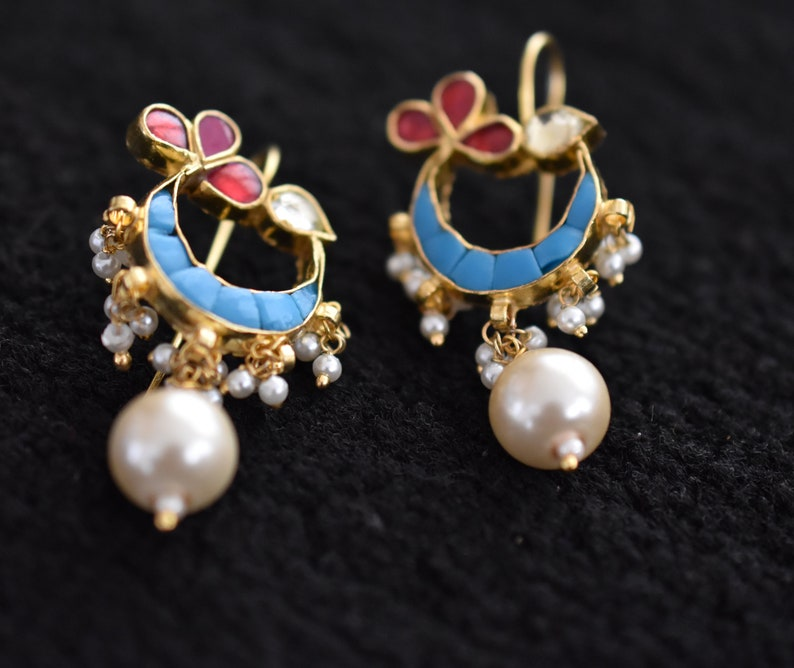a76e907f91613 kundan stud earrings, dangle and drop earrings, casted Kundan earrings,  turquoise, pink, pearl, Chand, flower earrings,