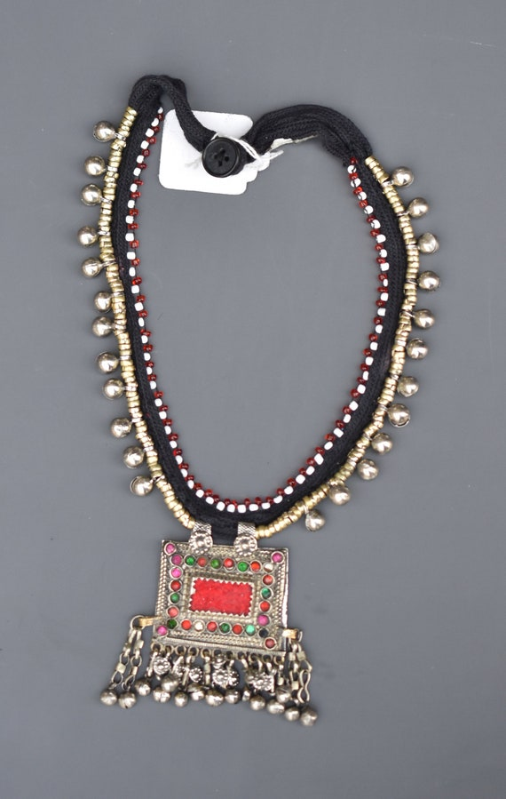 Afghan Vintage Stone Long Necklace STatement Authentic Ethnic Traditional