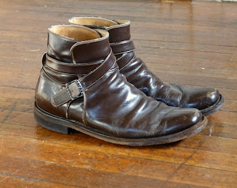 Brown Leather Vintage Buckle Chelsea Boots