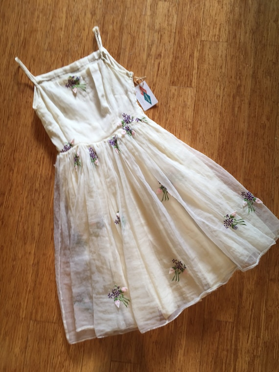 1950's White Chiffon Dress