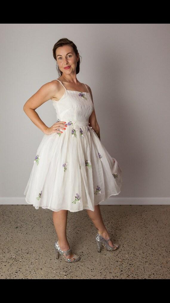 1950's White Chiffon Dress - image 3