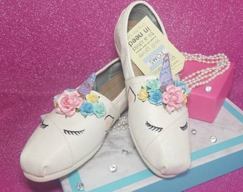 61a98f1a147 Custom Sleeping Unicorn TOMS or Vans - Adult sizes - Great for birthday  parties