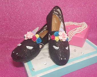 b3007d54e89ab0 Custom Sleeping BLACK GLITTERED Unicorn TOMS or Vans - Child s Size- Great  for birthday parties