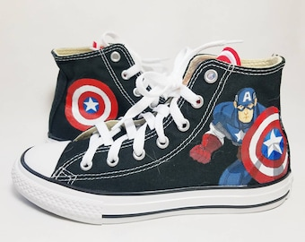 cc6594d4aef7 Captain America Custom Shoes Hand Painted- Converse