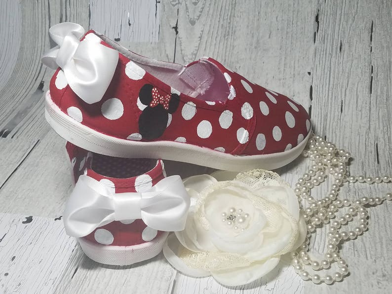 2802b2fea9cb1 Minnie Mouse Polka Dotted Custom Painted shoes with Bow - Children and  Women size - Converse, TOMS, and Vans - Customize w/ name