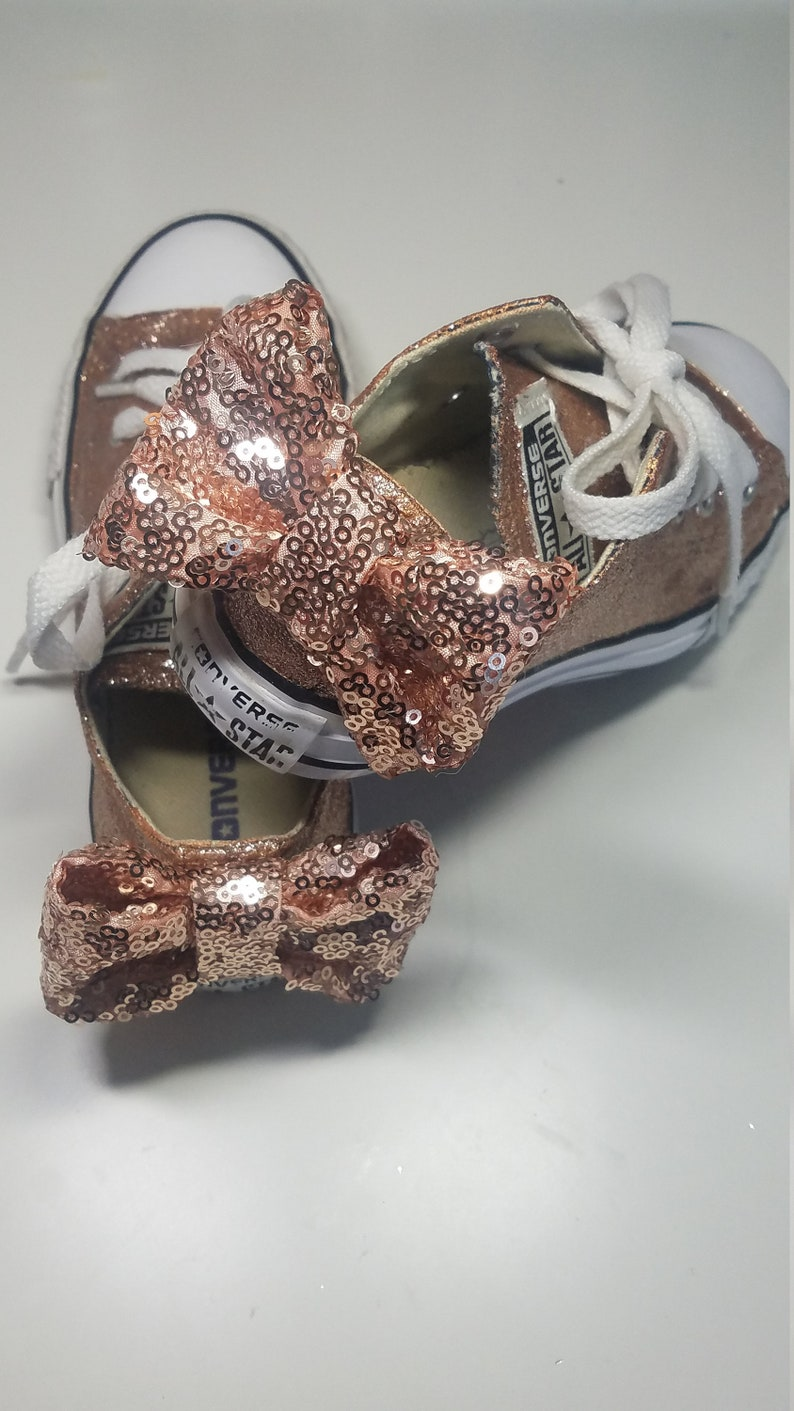 2b69e4980f56 Rose Gold Glitter Converse or Vans Shoes w  BOW For weddings