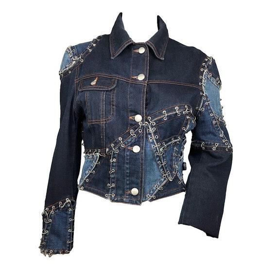 Jean-Paul Gaultier denim patchwork pierced jacket