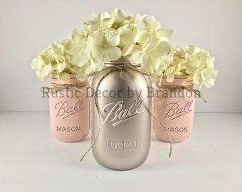 Rustic Rose Gold Elegance | Metallic Mason Jars | Rustic Centerpiece | Rustic Decor | Mason Jar Decor | 3 Piece Mason Jar Set | Metallic