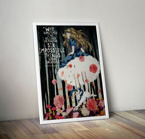 A4 Lewis Carroll Quote Print Unframed Alice In Wonderland Wall Art Minimalist