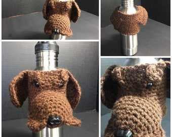 Crochet Cup, cozy dog coffee cup, coffee cup sleeve, mug cozy, tea cup, mug sweater, tea mug dog, coffee mug dog, brown