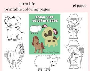 Farm Life Printable Coloring Book - Print at Home 10 Page Kid Color Pages - Home School & Teacher Resources - Sheep, Pig, Cow, Tractor, Dog