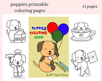 Puppies Printable Coloring Book - Print at Home 10 Page Kid Color Pages - Home School & Teacher Resources - Puppy with Balloon, Milk, HotDog