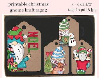 Christmas Gnome Kraft Printable Tags-2 - Xmas Party Hostess Gift Tag - DIY Kid's Holiday School Social Print at  Home Hang Tag