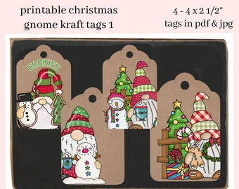 Christmas Gnome Kraft Printable Tags - Xmas Party Hostess Gift Tag - DIY Kid's Holiday School Social Print at  Home Hang Tags