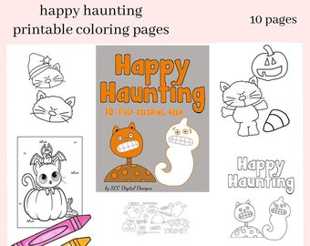 Printable Kid's Happy Haunting Coloring Book - Print at Home 10 Page Kid Color Pages - Home School & Teacher Resources - Fun and Educational