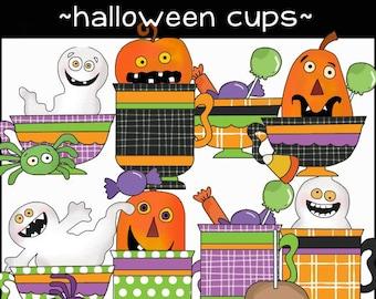 Halloween Cups Digital Clipart - Halloween Cups PNG - Spooky Halloween Cups Clipart - Ghost Clipart - Pumpkin Clipart