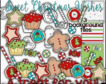 Christmas Sweets & Treats Digital Graphics - Digital Stamps - Word Art - Christmas Sweets PNG - Christmas Candy - Background Tiles