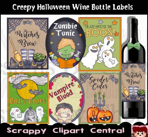 Creepy Halloween Printable Wine Label Witches Brew Printable Etsy