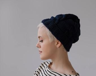 b3ec79bcaa2 Dark Navy Blue Hand Knit Hat by Sarah Chambray