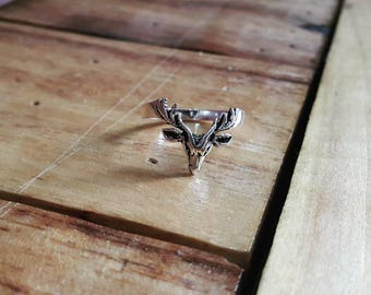 925 Sterling Silver Reindeer Rings with Oxidize