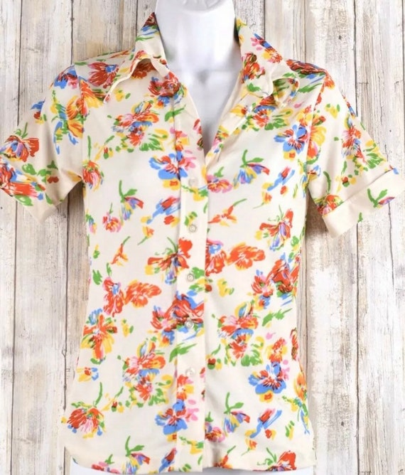 Vintage 70s You Babes Button Front Floral Shirt  S