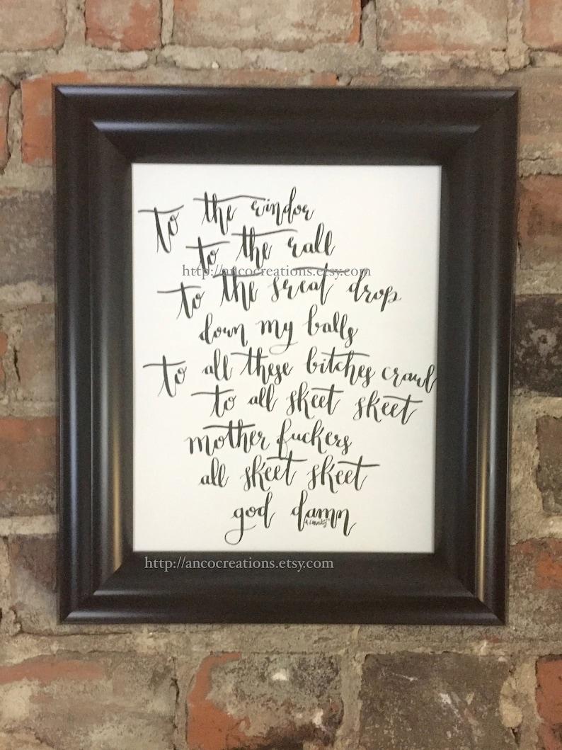 Get Low Lyrics, Original Calligraphy
