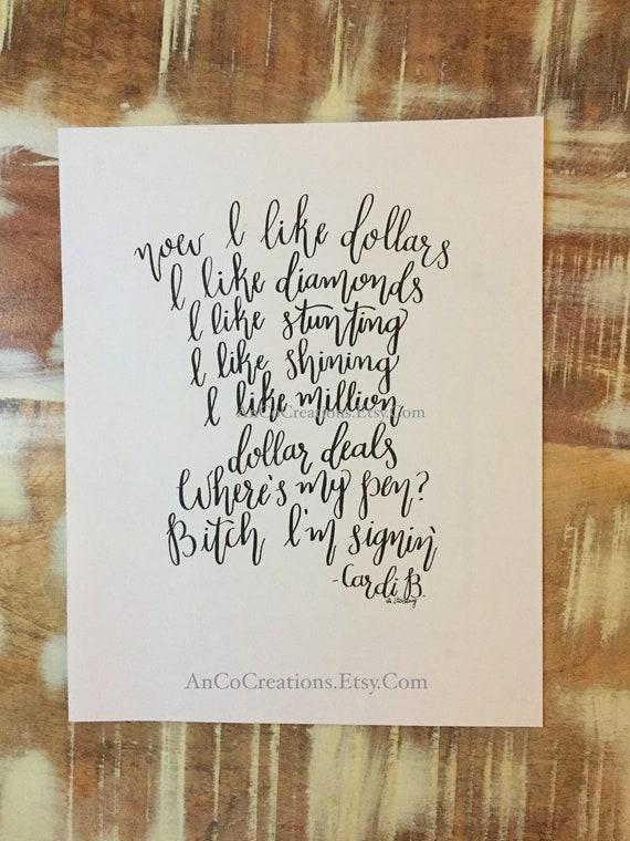 I Like It Cardi B Lyrics Original Calligraphy Cardi B Quote Etsy