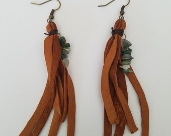 Leather Fringes with Green Rocks