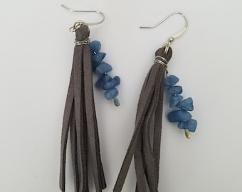 Grey Leather fringes with Blue Rocks