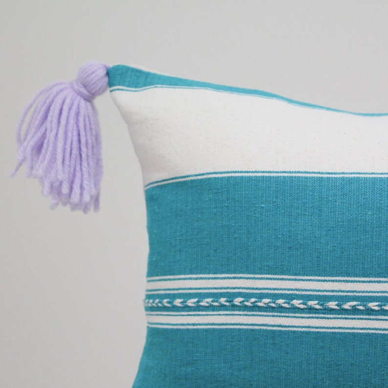 authentic Mexican handmade pillow cover white and green embroidered textile decorative throw pillow bohemian boho oaxaca cushion cover