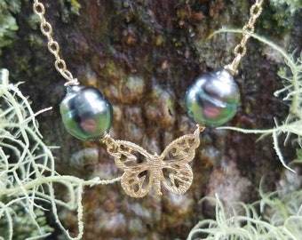 Double Tahitian butterfly necklace