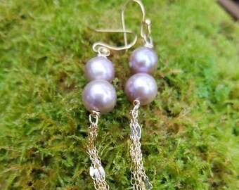 Double Freshwater lavender grey pearl dangle earrings