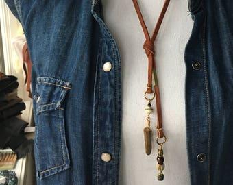 Leather Lariat Necklace | quartz | tigerseye | spinel | brass | pyrite