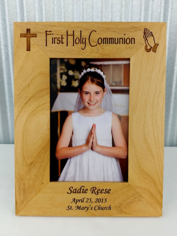 First Holy Communion Personalised Wooden Photo Frame Gift 6x4 5x7 8x6 10x8