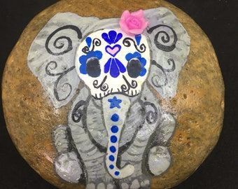 Sugar Skull Elephant hand painted rock made to order gift idea